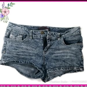 DENIM jean SHORTIES SHORTS lace accents size 13